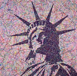 Liberty III by Jim Dowie - Original Painting on Box Canvas sized 36x36 inches. Available from Whitewall Galleries
